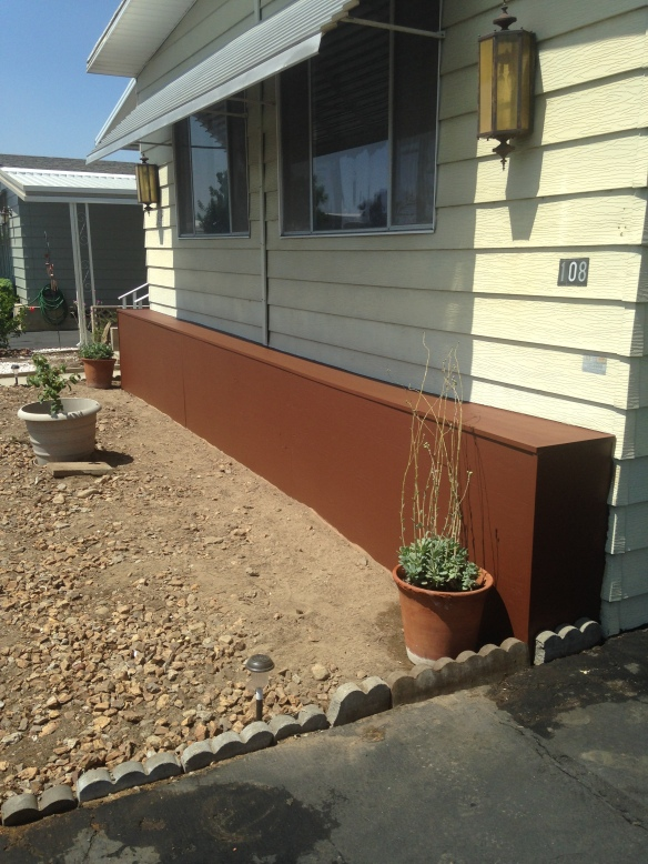 Mobile Home skirting and flower stand install